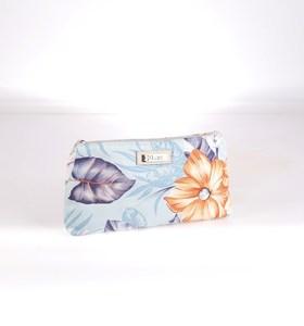 Plátěná kosmetická taštička Kbas s květinovým vzorem tyrkysová