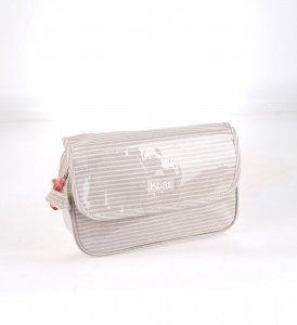 Kosmetická taška z PVC Kbas s proužky béžová