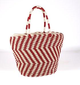 Dámska taška zo syntetickej rafie Kbas krémovo-červená