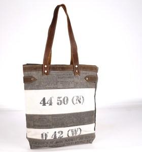 Taška z plátna Kbas s koženými rúčkami sivá 320504