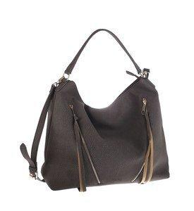 Elegantná kabelka z eko kože Kbas so šikmými ozdobnými zipsami sivá