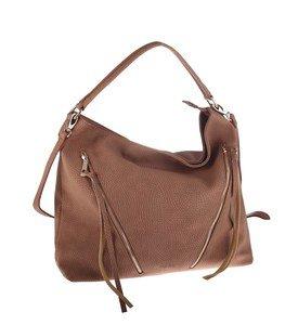 Elegantná kabelka z eko kože Kbas so šikmými ozdobnými zipsami medená