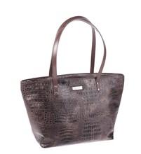 Elegantná kabelka z eko kože Kbas s krokodílím vzorom hnedá