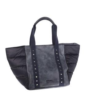 Elegantná kabelka z eko kože a nylonu Kbas prešívaná modrá