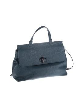 Elegantná kabelka z eko kože Kbas s ozdobným zapínaním a malým uchom modrá