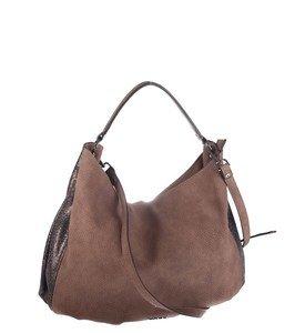 Elegantná kabelka z eko kože Kbas s dvojitými popruhmi hnedá