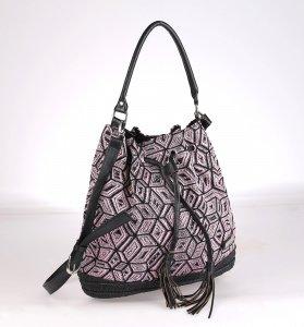 04699e0d1 Dámska taška zo syntetickej rafie Kbas s odopínateľným ramienkom  ružova-čierna 215603