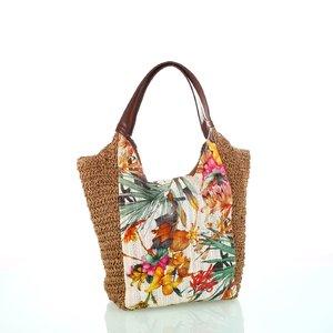 Dámska taška zo syntetickej rafie Kbas s kvetinovým vzorom krémová 215801C