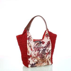 Dámska taška zo syntetickej rafie Kbas s kvetinovým vzorom Kbas červená 215801R
