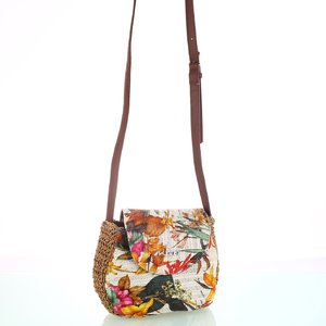 Dámská kabelka ze syntetické rafie Kbas s květinovým vzorem krémová 215802C