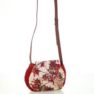 Dámska kabelka zo syntetickej rafie Kbas s kvetinovým vzorom červená 215802R