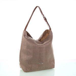 Dámská taška Kbas s koženým popruhem Kbas hnědá 215803M