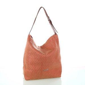 Dámska taška s koženým popruhom Kbas oranžová 215803TA