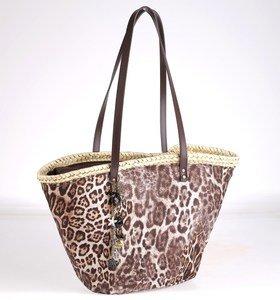 Coş din paie de palmier Kbas cu mânere din piele cu model de leopard maro 085603