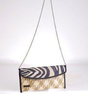 Listová kabelka cez rameno Kbas z palmovej slamy s potlačou zebra