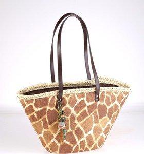 Coş din paie de palmier Kbas cu mânere din piele cu model de girafă 085602