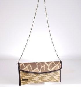 Listová kabelka cez rameno Kbas z palmovej slamy s potlačou žirafa