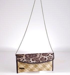 Listová kabelka cez rameno Kbas z palmovej slamy s potlačou leopard hnedá