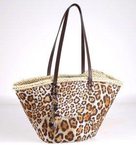 Coş din paie de palmier Kbas cu mânere din piele cu model de leopard bej 085604