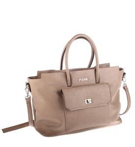 Elegantná kabelka z eko kože Kbas s predným vreckom béžová