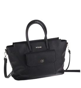 Elegantná kabelka z eko kože Kbas s predným vreckom čierna