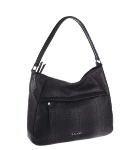 Elegantná kabelka z eko kože Kbas s motívom hadej kože čierna