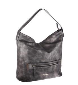 Elegantná kabelka z eko kože Kbas s vreckom na zips sivá