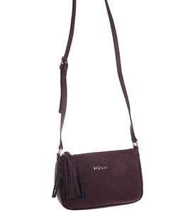 Dámska kabelka cez rameno z eko kože Kbas so strapcom bordová