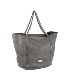 Elegantná kabelka z eko kože Kbas s retiazkovými popruhmi sivá