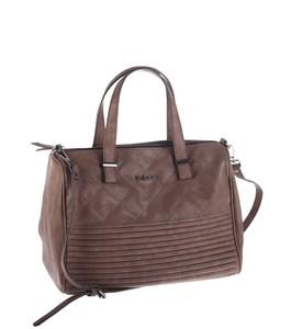 Elegantná kabelka z eko kože Kbas s prešívaním a pruhovaným dnom hnedá