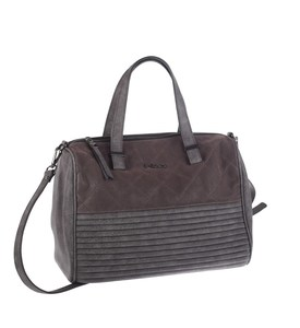 Elegantná kabelka z eko kože Kbas s prešívaním a pruhovaným dnom sivá