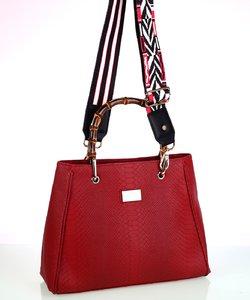Dámska kabelka eko koža Kbas s bambusovými rúčkami červená 1740b5fb7b9