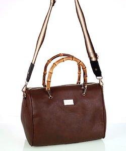 Dámska kabelka z eko kože Kbas s bambusovými rúčkami hnedá
