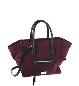 Elegantná kabelka z eko kože Kbas s vonkajším vreckom bordová