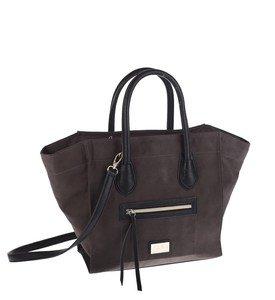 Elegantná kabelka z eko kože Kbas s vonkajším vreckom  tmavohnedá