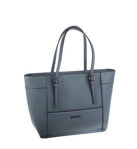 Elegantná kabelka z eko kože Kbas s prackami na popruhoch modrá