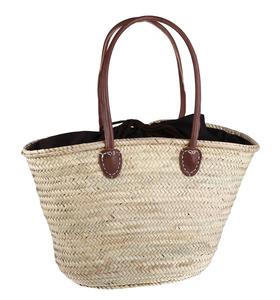 Košík z palmovej slamy Kbas natural s podšívkou a dlhými koženými rúčkami 087235