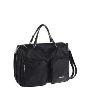 Elegantná kabelka z eko kože Kbas s vonkajšími vreckami čierna