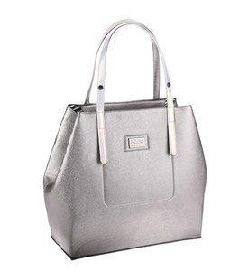 Metalická elegantná kabelka z eko kože Kbas strieborná