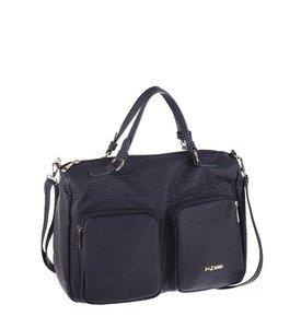 Elegantná kabelka z eko kože Kbas s vonkajšími vreckami tmavomodrá
