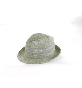Slamený klobúk Kbas s prúžkami svetlosivý