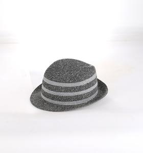 Slamený klobúk Kbas s prúžkami sivý