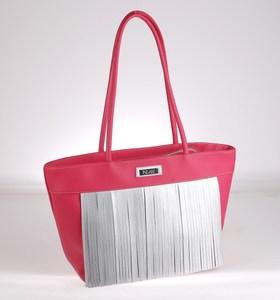 Elegantná kabelka z PVC Kbas so strapcami fuksiová