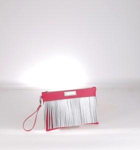 Listová kabelka z eko kože Kbas so strapcami fuksiová