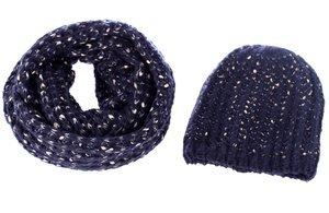 Set čepice a šála ze syntetické vlny Kbas modrý 272601AZ