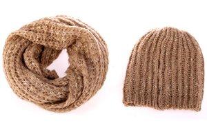 Set čiapka a šál zo syntetickej vlny Kbas béžový