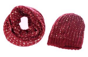 Set čiapka a šál zo syntetickej vlny Kbas granátový