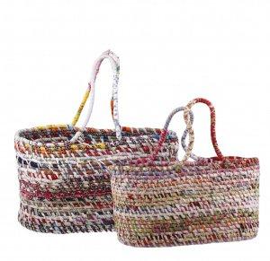 Kbas set 2 kusov bavlnených pletených košíkov viacfarebné 276101