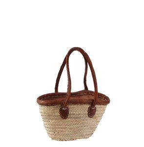 Coșuleț Kbas din fibre de palmier cu tapiserie din piele, căptușeală și fermoar 087191
