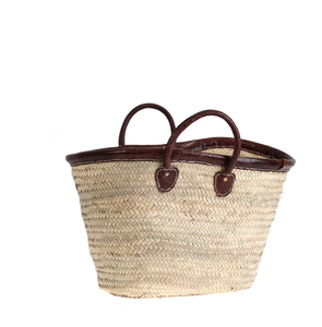 Košík z palmové slámy Kbas s koženým lemováním a ručkami 087149